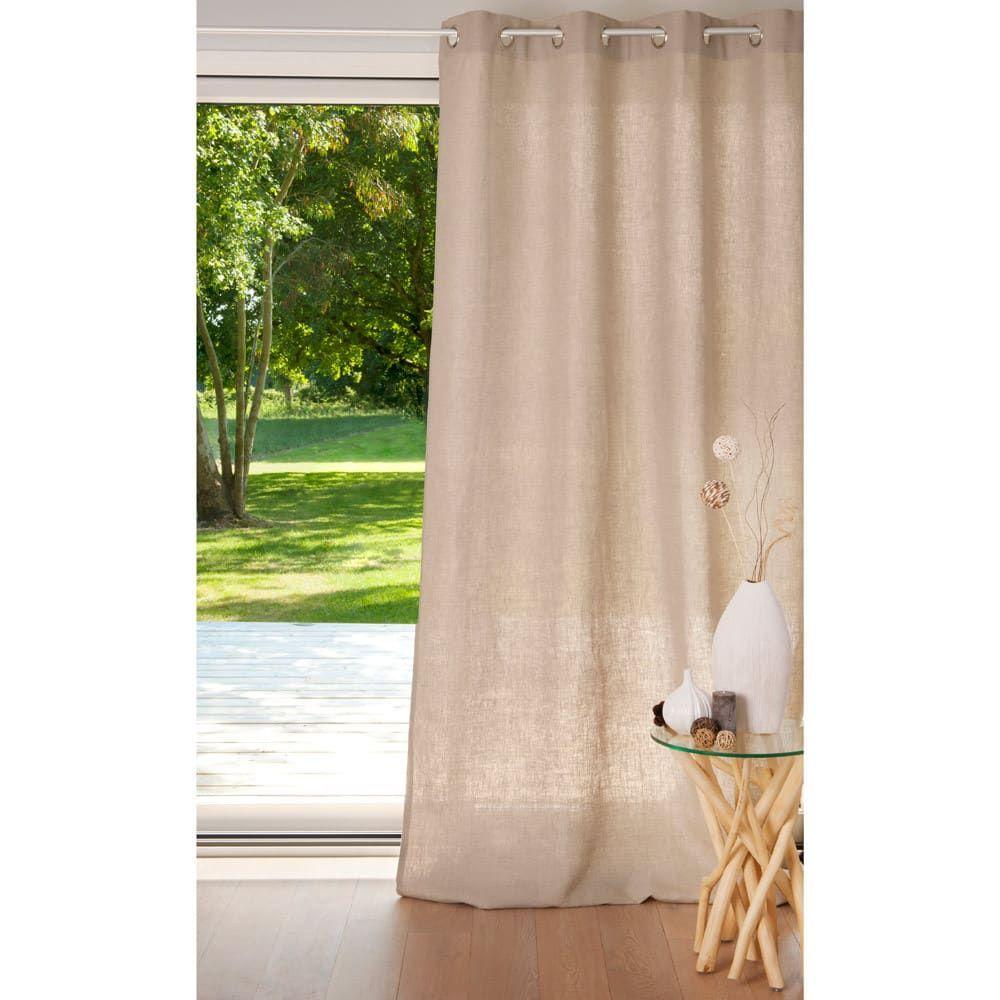 rideau à œillets en lin lourd beige 135 x 300 cm  rideaux