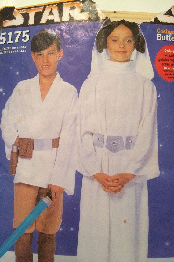 Star Wars Costume Pattern Butterick 5175 Child sizes 4-14 from 1997
