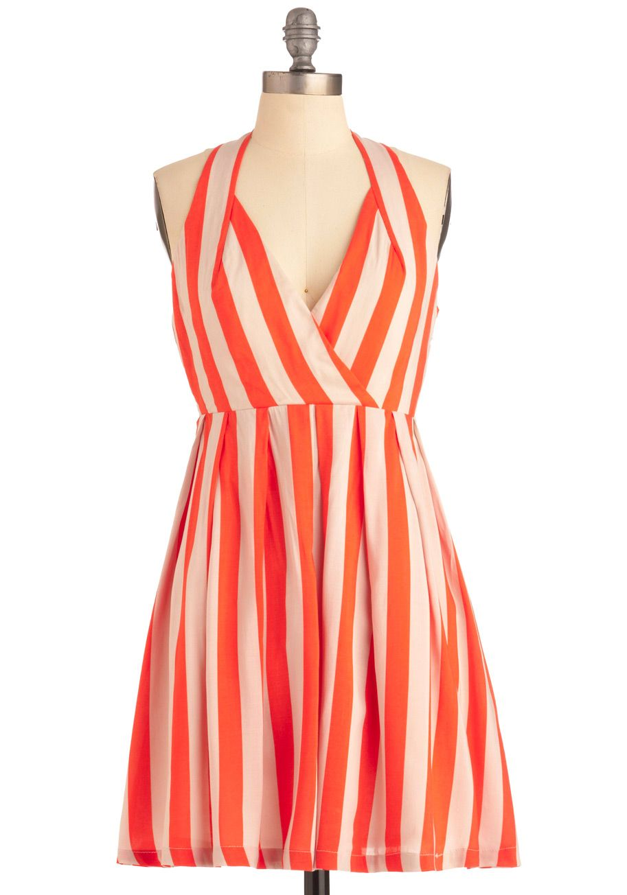 Old Orchard Beach Dress Short Stripes A Line Halter Vintage Inspired Orange White Party Summer