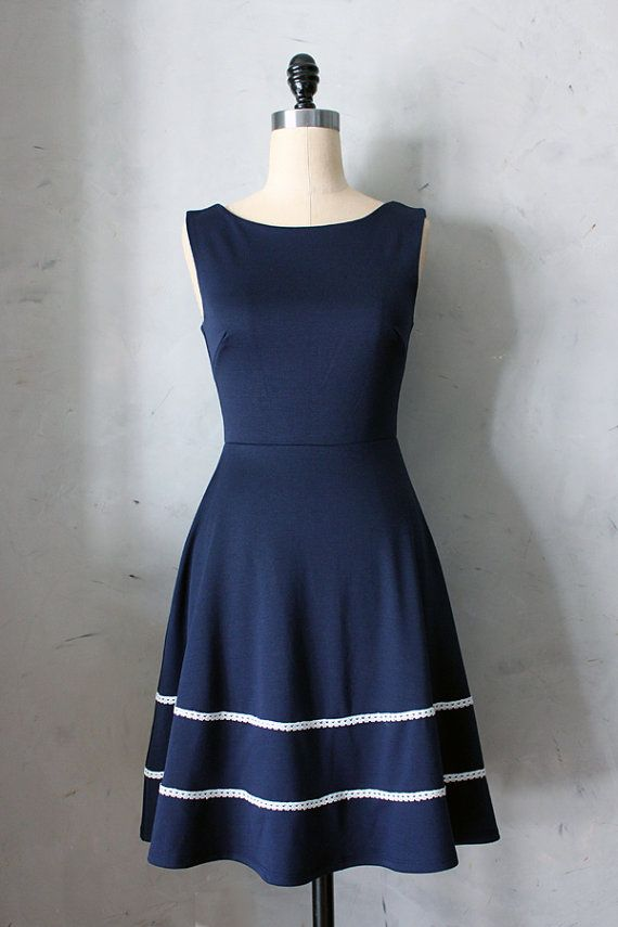 ...yes COQUETTE in NAVY - Navy blue dress with pockets // flared circle skirt // ivory crochet // bridesmaid dress // vintage inspired