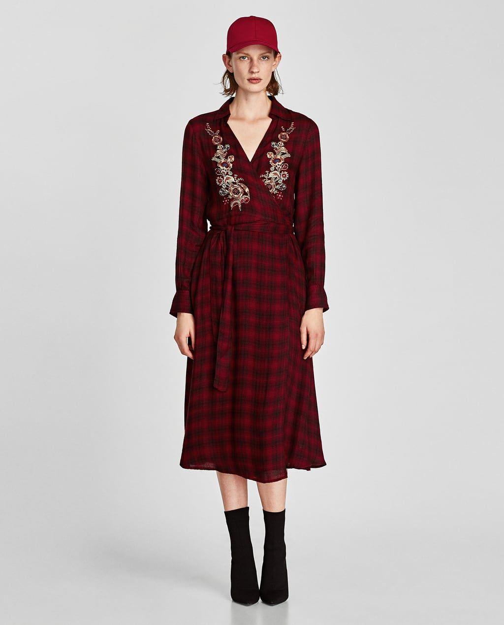 Lange rode jurk zara