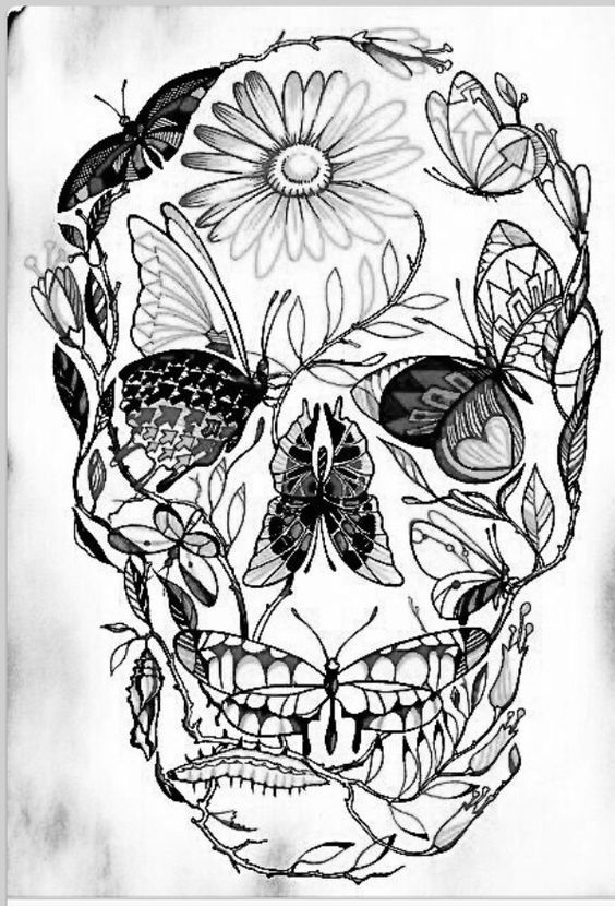 Sugar Skull Butterfly Dont Like The Style But I Like The Concept Skull Art Drawing Sugar Skull Art Drawing Skull Coloring Pages