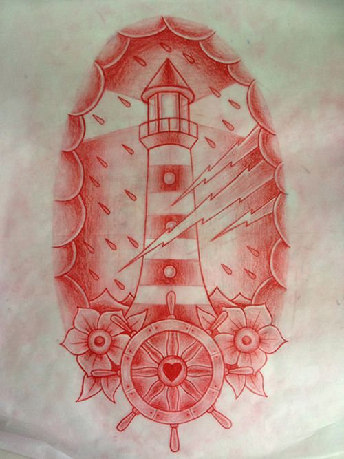3c63107bd240f Lighthouse with rain and lightning | TATTOO FLASH | Traditional ...