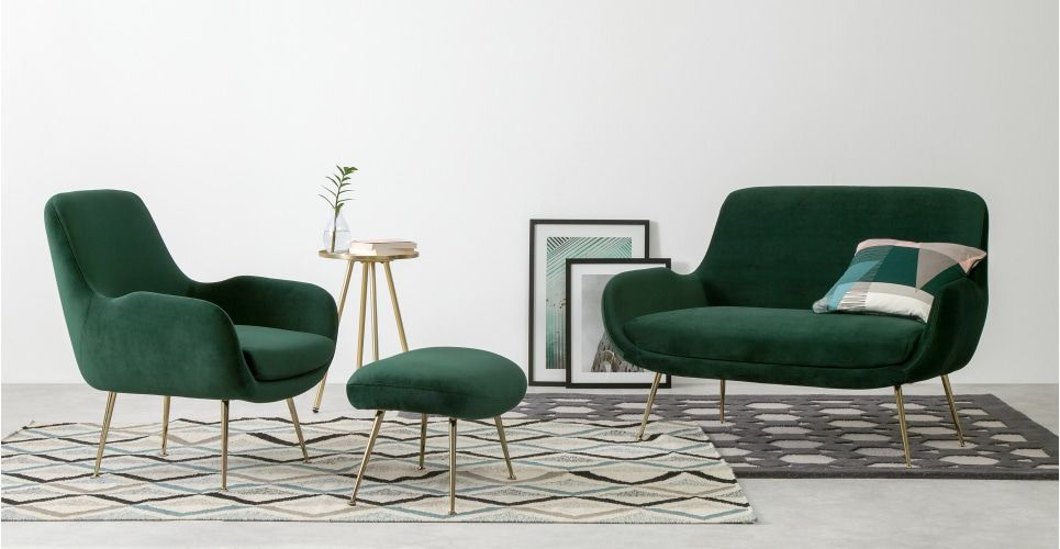 Moby Sessel Samt In Tannengrun In 2020 Green Accent Chair 2 Seater Sofa Living Room Chairs