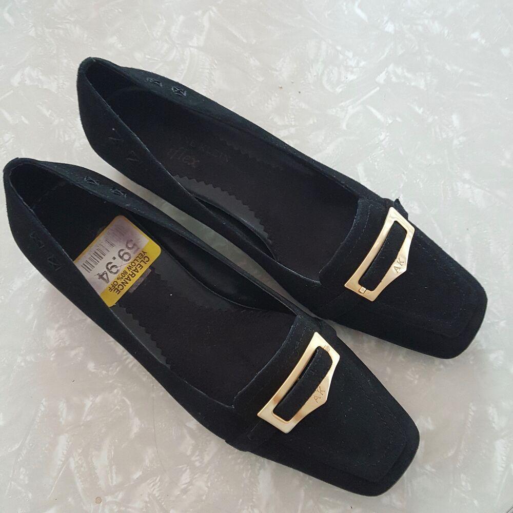 Anne Klein iFlex Marhombus Shoes 6.5M Black Suede Pump