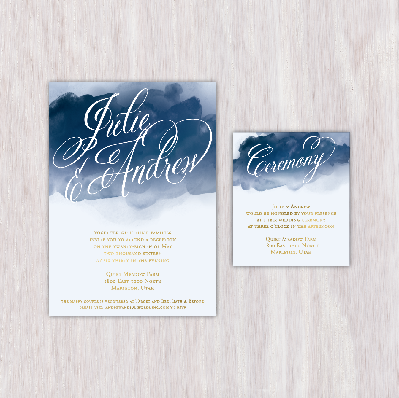 Navy watercolor gold text single sided wedding announcement with