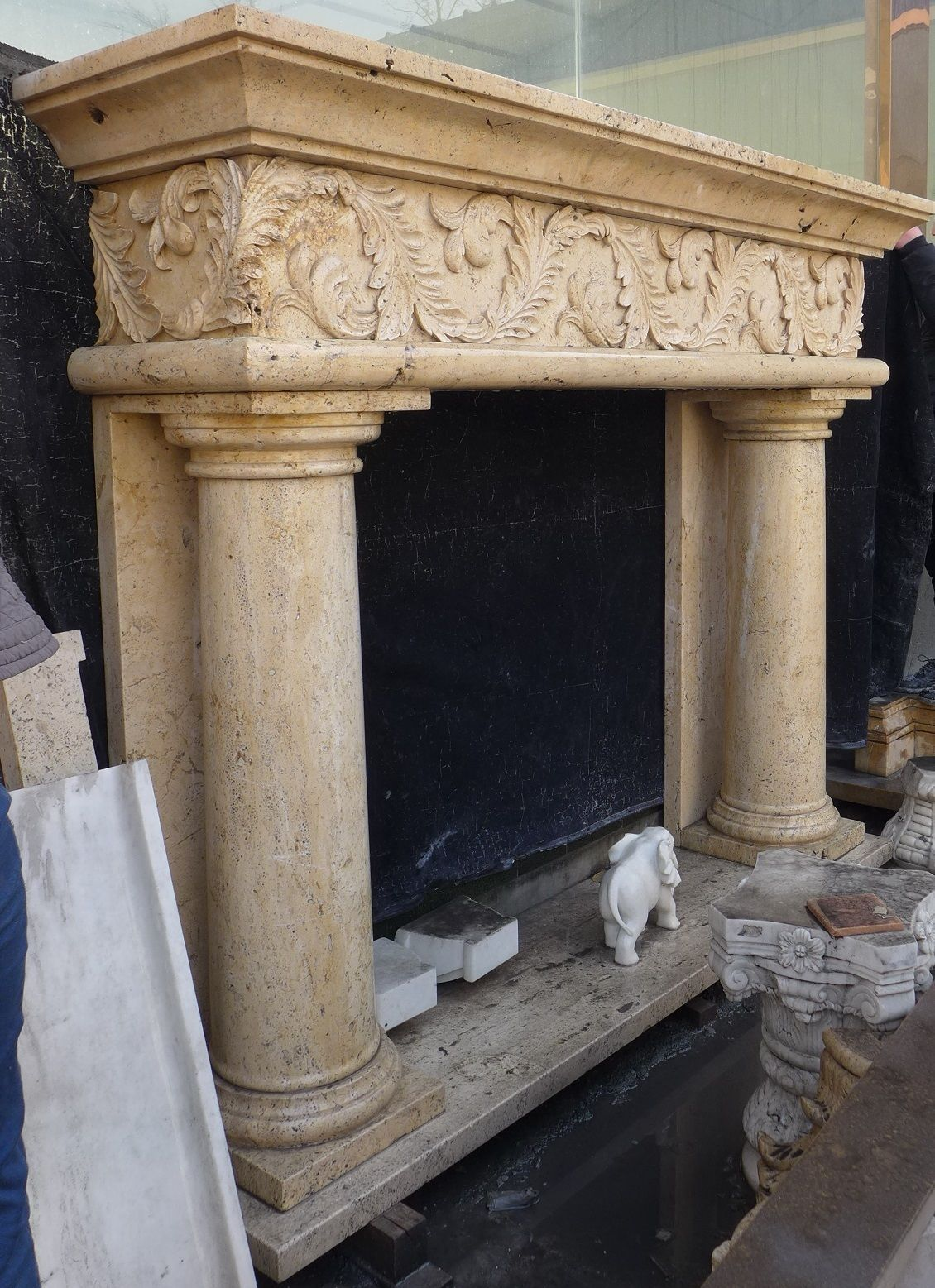 Grand Column Mantel Fireplace Hand Carved Mantle Travertine Marble Limestone Carved Stone Fireplace Fireplace Stone Fireplace Mantel