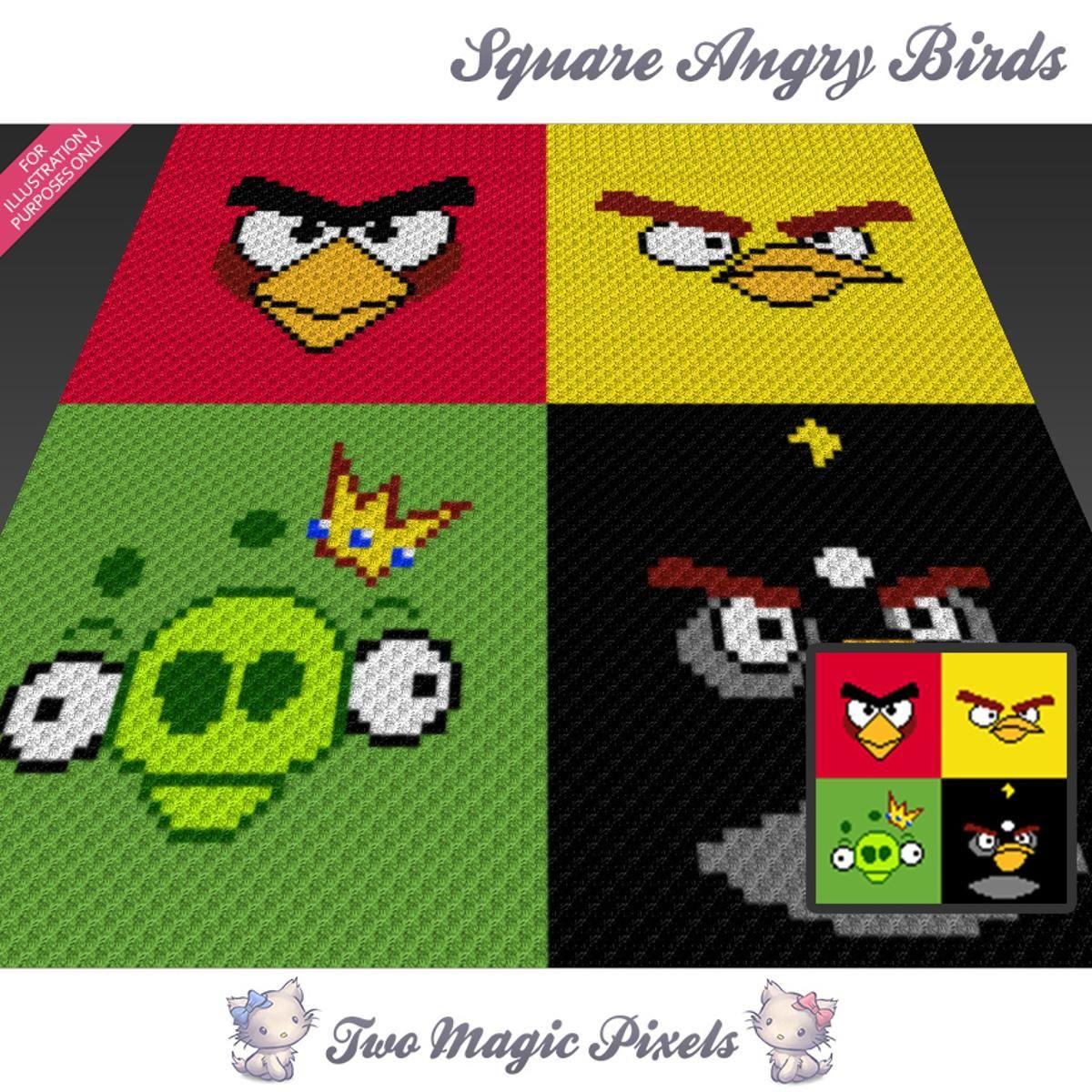 Square Angry Birds C2C Graphs Bundle   Patrones