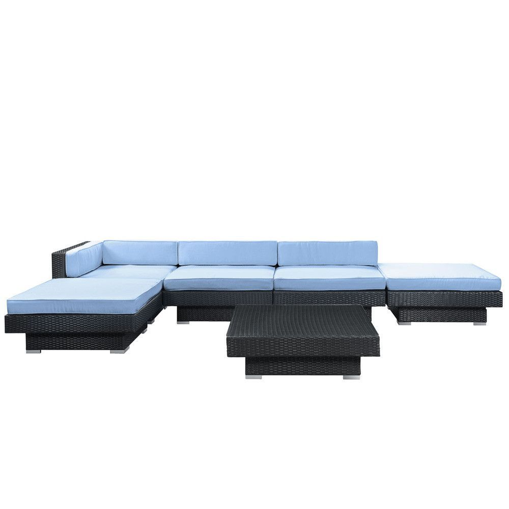 Lexmod Monterey Outdoor Wicker Rattan Sectional Sofa Set White Slip Covered Laguna 6 Piece Patio Patios Blue Fabric And Barcelona Designs