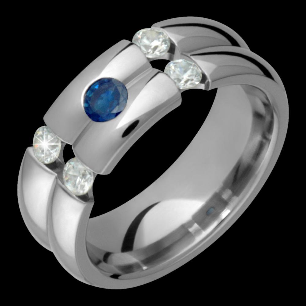 7mm Titanium Sapphire & Diamond Ring Custom Made For Him