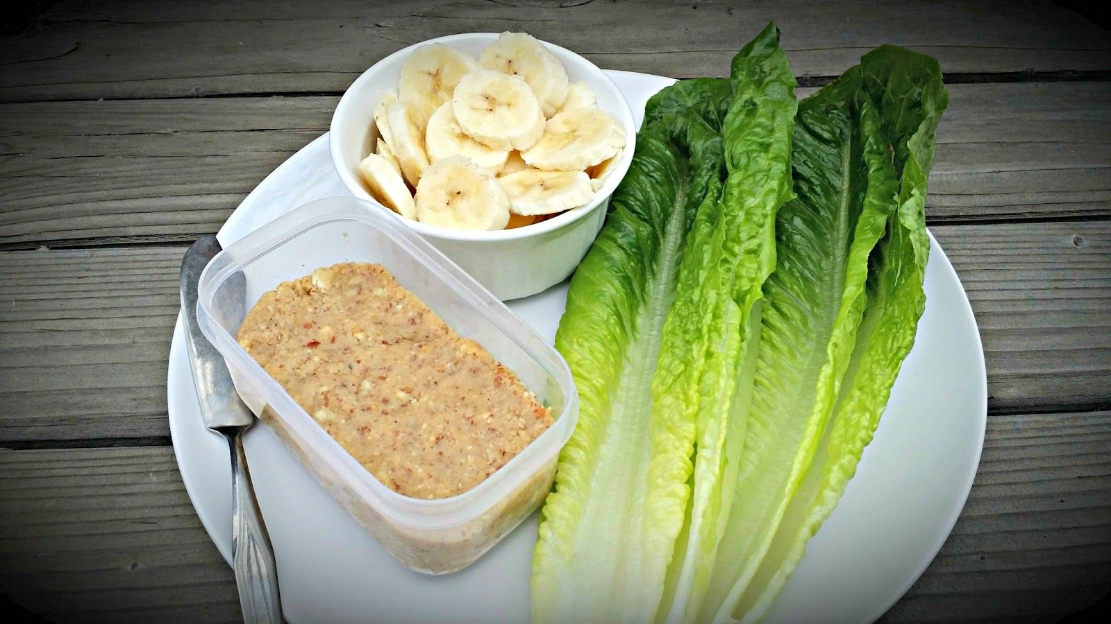 Romaine Lettuce, Homemade AlmondCashew Butter, and Sliced