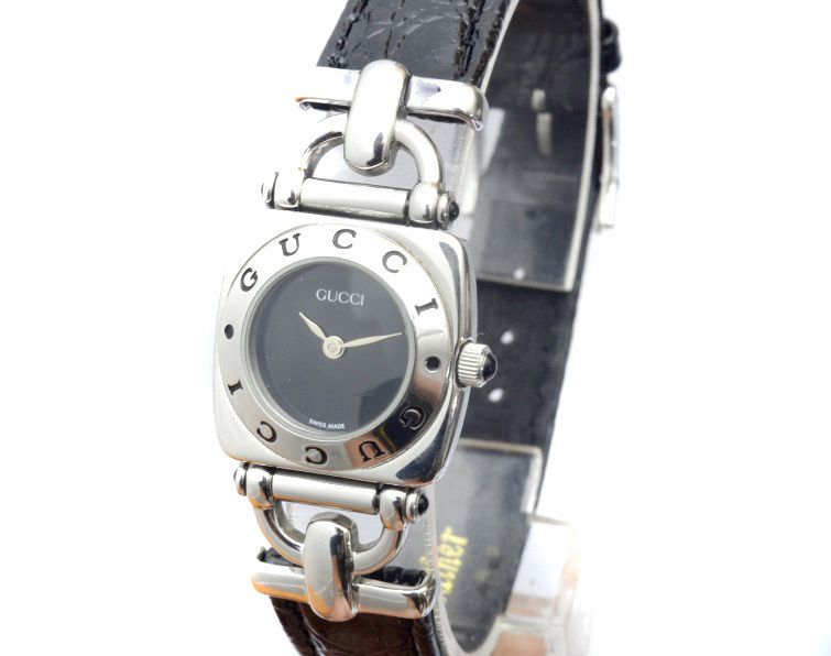 383f433c883 Gucci 6300L Silver   Black Leather Women s Dress Watch
