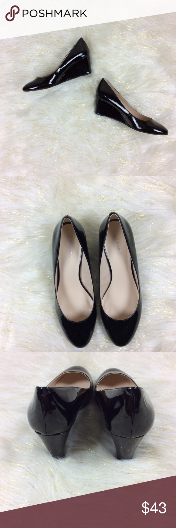 cad30cc7e2be Nine West Jessa Black Patent Wedges 9.5M Classic patent wedges that go with  everything! These are in EXCELLENT condition!! No marks or…