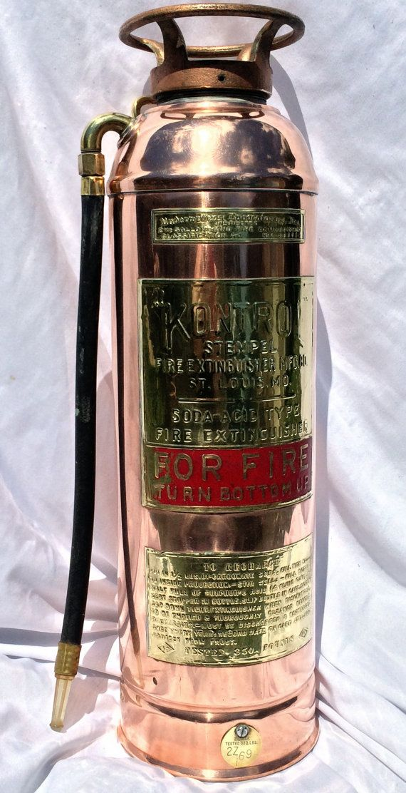 Vintage Kontrol Br And Copper Fire Extinguisher