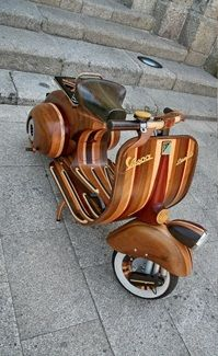 Portuguese carpenter Carlos Alberto built a fully-functioning  Vespa out of laminated hardwood. He built it for his daughter Daniella and subsequently named it after her.  The 50cc 60s era scooter is built to the same exact dimensions of the original, iconic Vespas that rolled off the factory floor throughout the decade of free love.
