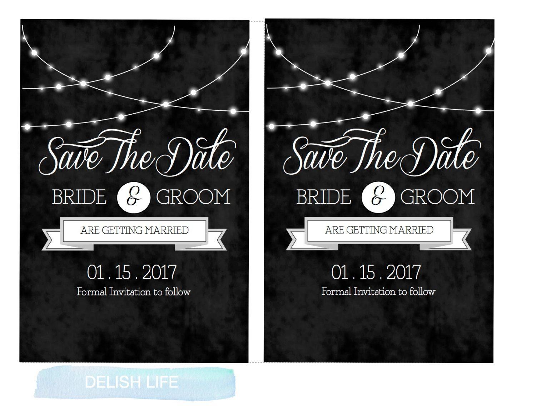 string lights printable and editable wedding invitation template