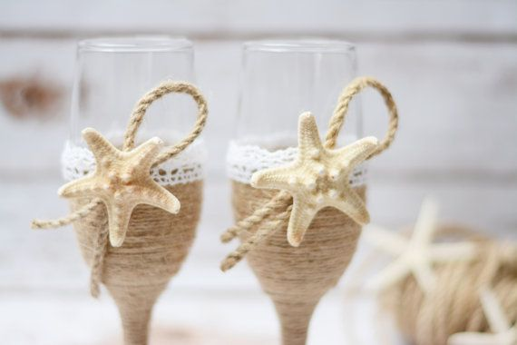 Wedding Glasses Starfish Champagne Beach by HappyWeddingArt