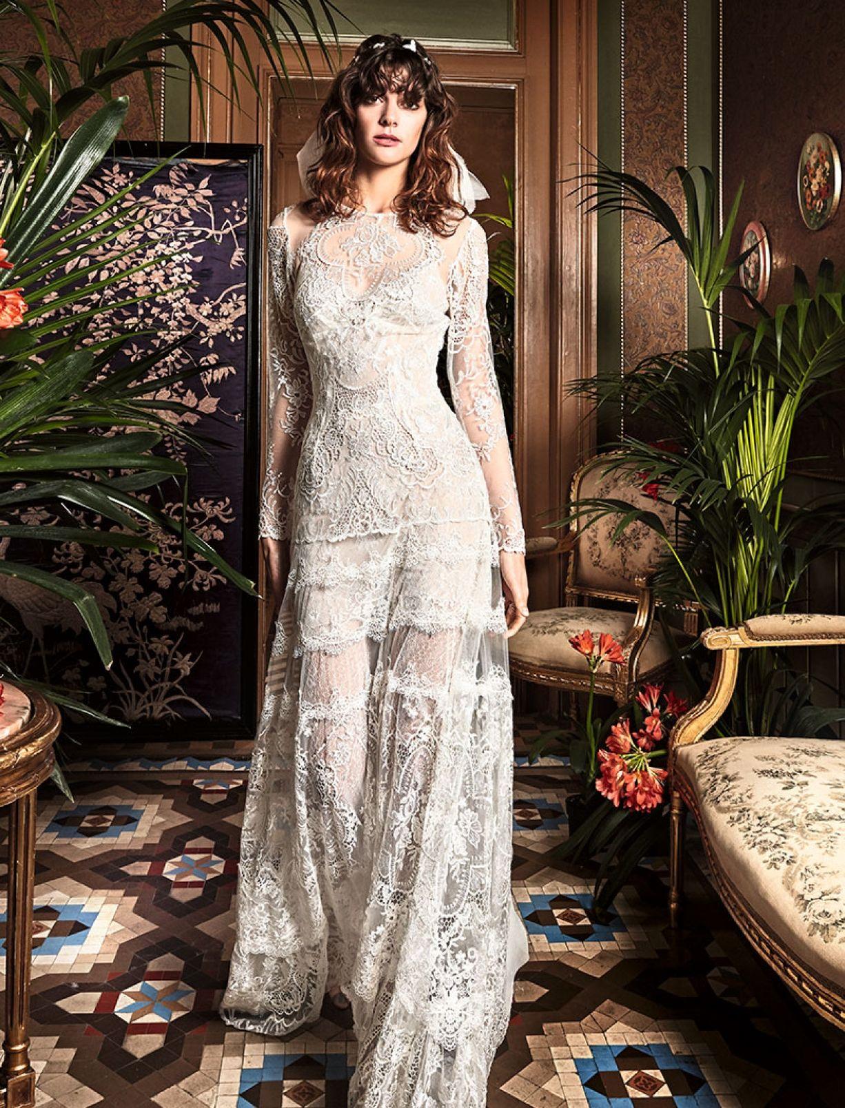 Bohemian long sleeve lace detailed sheath wedding dress yolan