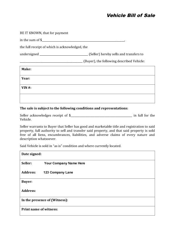 Vehicle Bill Of Sale Form  Item   Vehicle Bill Of Sale