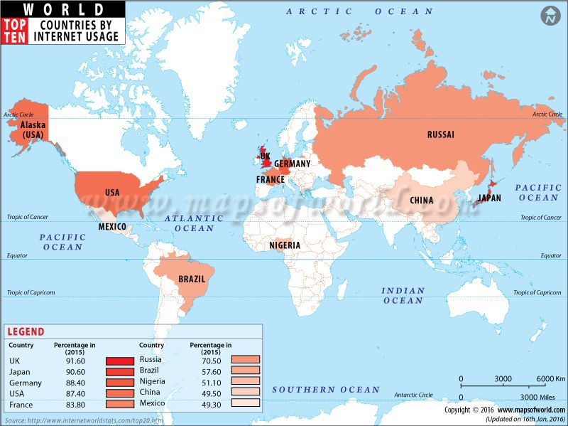 World Map Showing The List Of Top Ten Countries By Density Of - World internet usage map