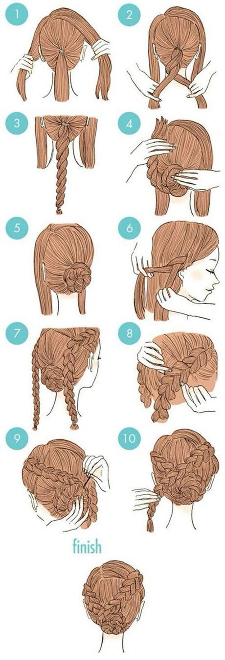 Bollos de fiesta trenzados para cabello largo – Peinados