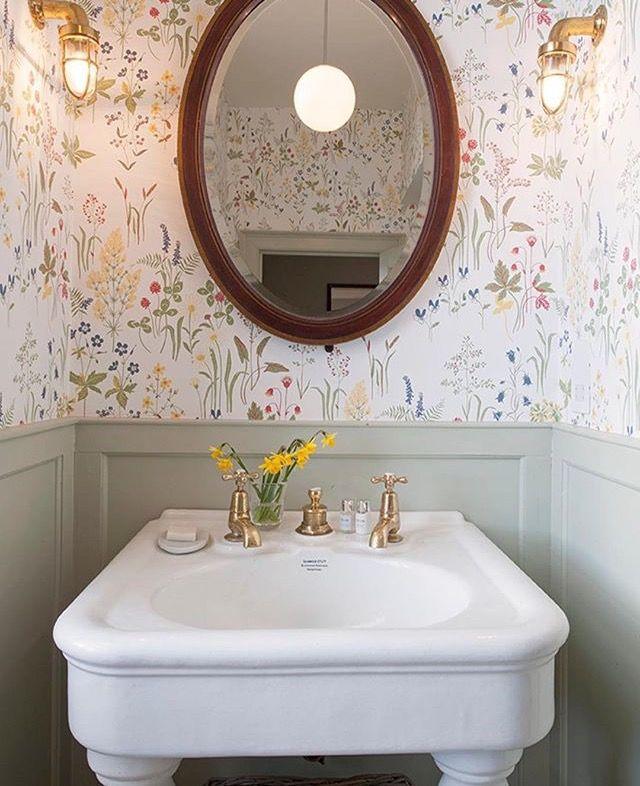 Cute Clean Powder Powder Room Small Small Bathroom Wallpaper Bathroom Wallpaper
