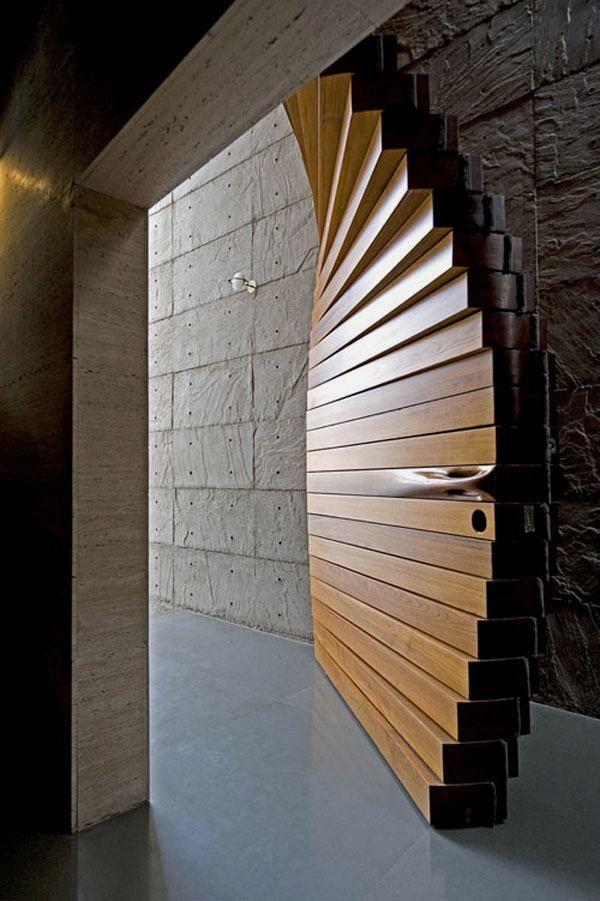 beautiful doors   Beautiful Door Designed in Wooden Curtain Form ...