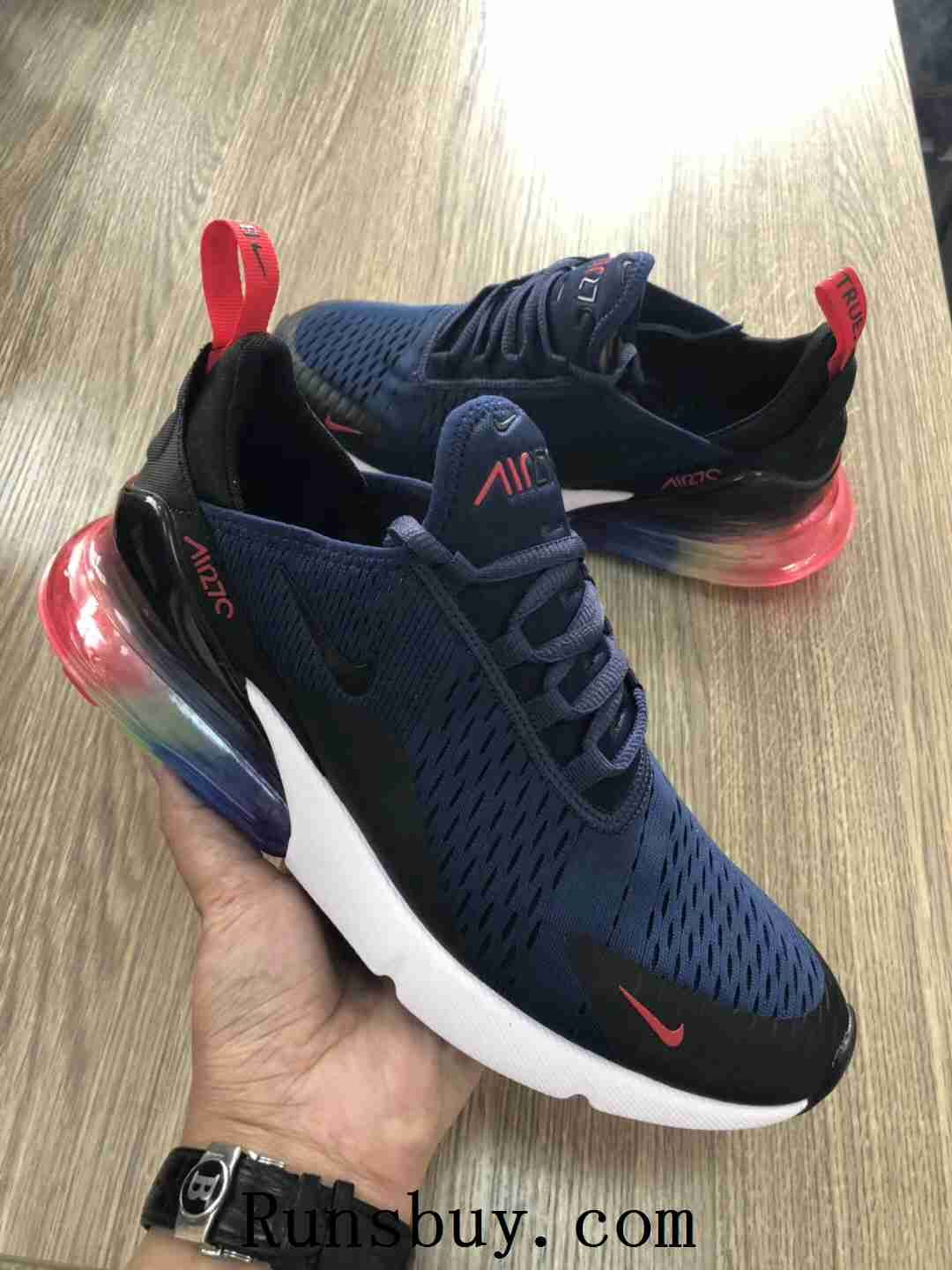 new styles 86d44 50709 Nike Air Max 270 Betrue Blue Black Rainbow Women Men Running Shoes