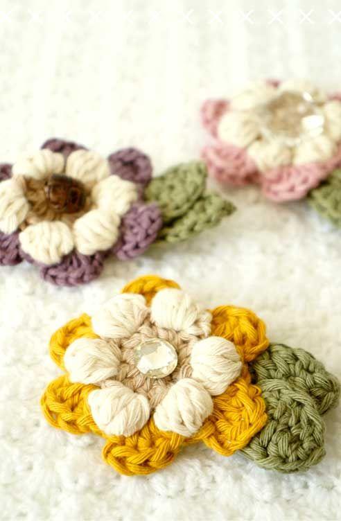 Flower Brooch Crochet Pattern Needleworks Pinterest Flower