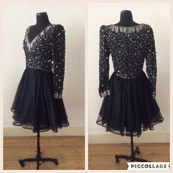 Vintage 1980s Black & Silver Sequin Beaded Dress Full by Cabinet49