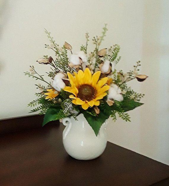 a9fced3eeb7 Flower Arrangement, Sunflower Arrangement, Farmhouse Decor, Cotton ...