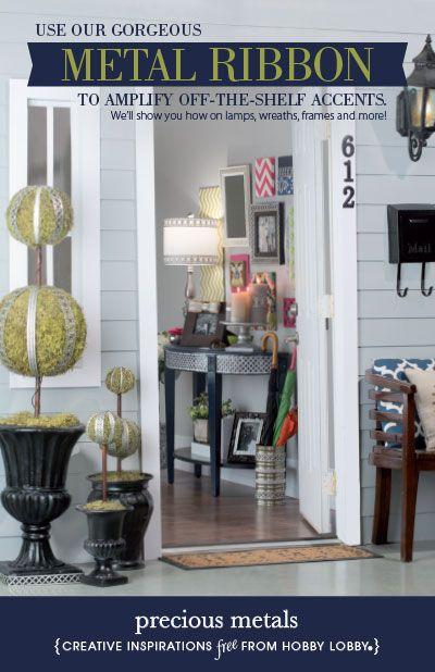 hobby lobby project - precious metals - metal, ribbon, topiary