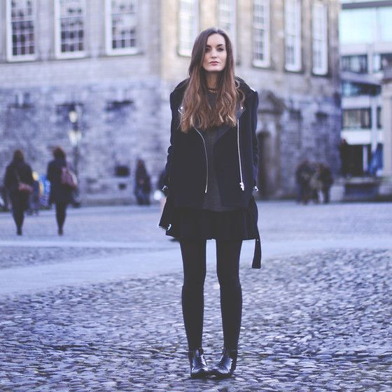 Sandro Coat, Storets Dress, H Socks, Missguided Shoes