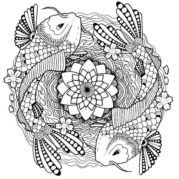 Koi coloring page for adults, Tattoo adult coloring page, Koi adult - copy indian symbols coloring pages