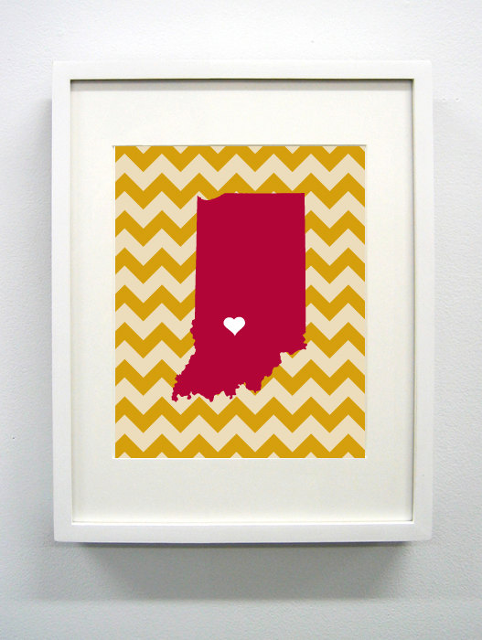 Bloomington, Indiana State Giclée Map Art Print - 8x10 - Graduation ...