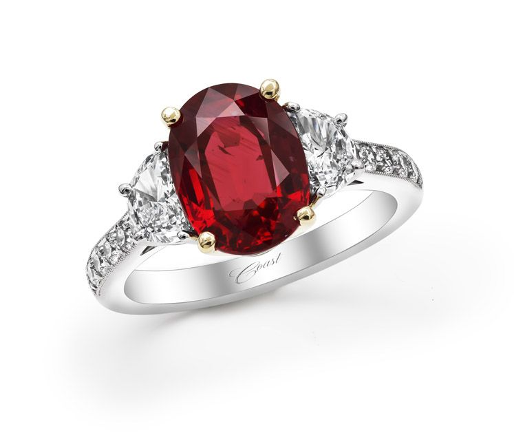 vivid red ruby engagement ring with diamonds coast diamond at robbins brothers - Ruby Wedding Rings