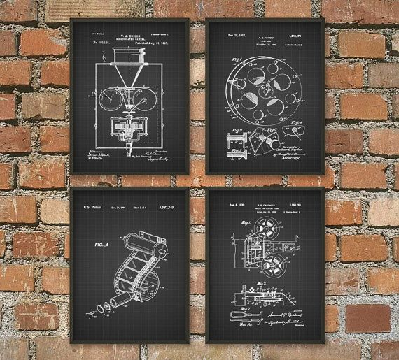 Motion Picture Camera Edison Patent Wall Art Poster Movie Theater Home Decor Movie Patents Gift Idea Giclee Art Print Set Of 4 Art Print Set Music Room Decor Poster Wall Art