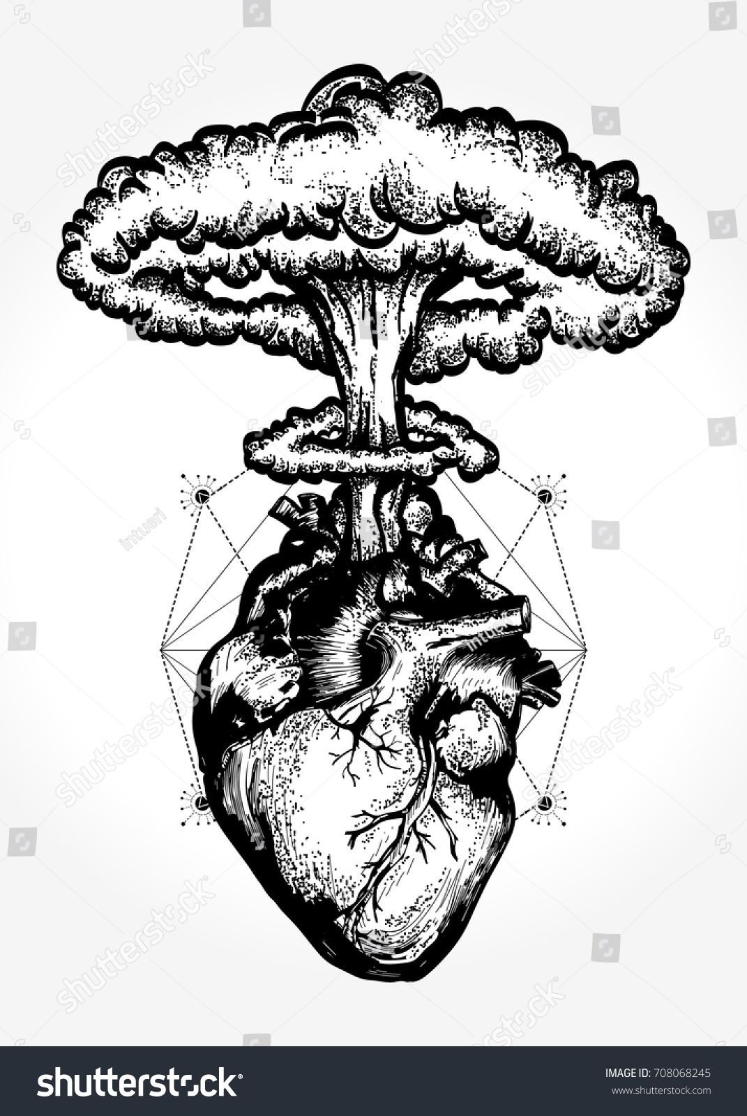 nuclear explosion of anatomical heart tshirt design