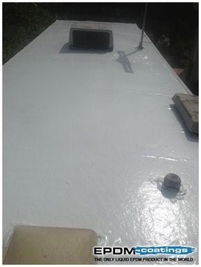 Liquid Roof Solution For Rv Roof Leaks Repair Epdm Coatings Roof Leak Repair Remodeled Campers Rv Roof Repair