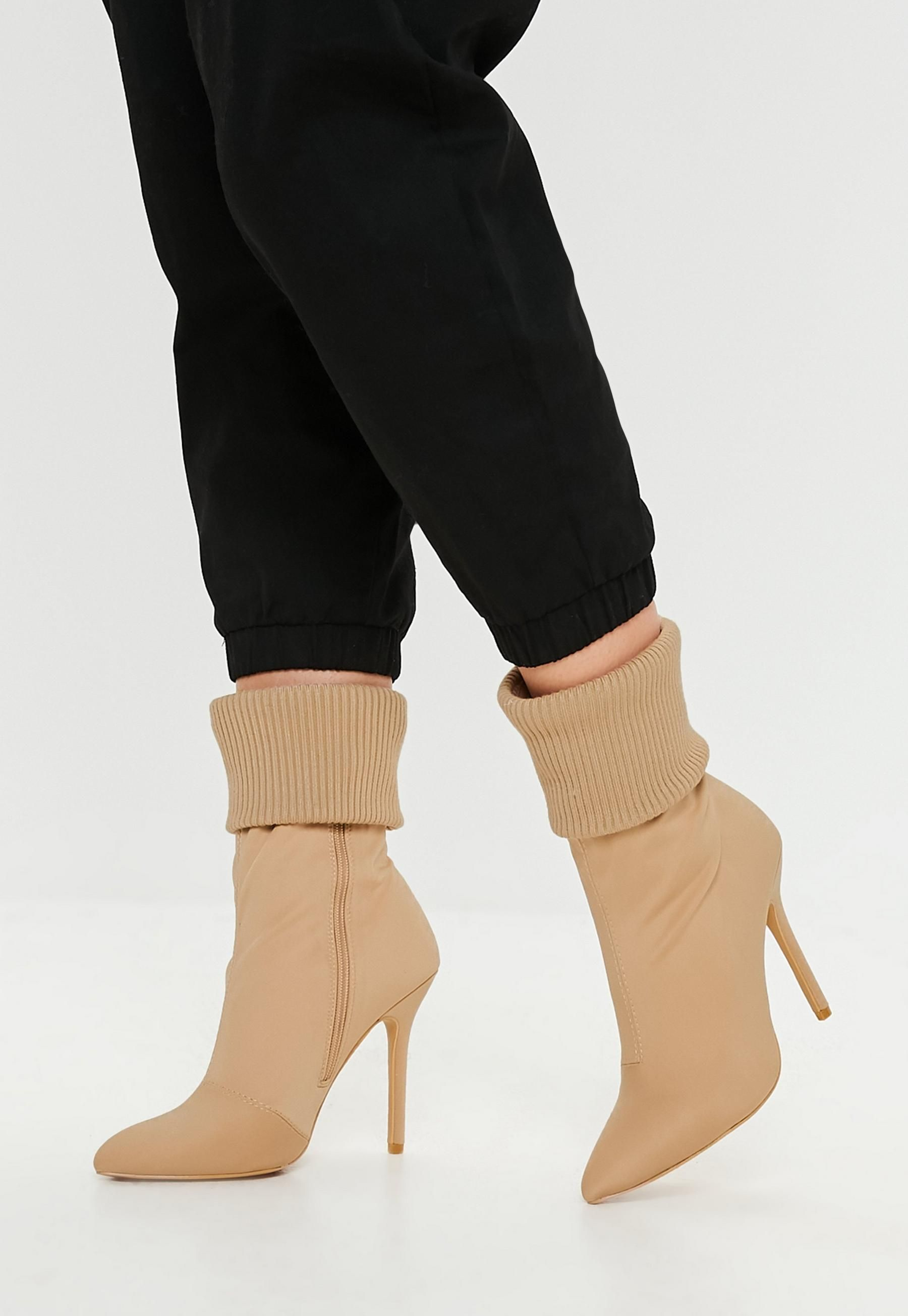 775362792a30 Missguided Nude Knit Pointed Ankle Boots