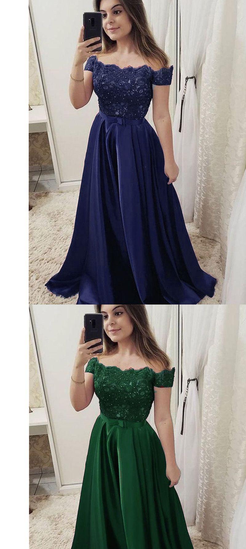 0742754e3 Navy /Green/Red Elegant Off Shoulder Prom Dresses Long Lace ...