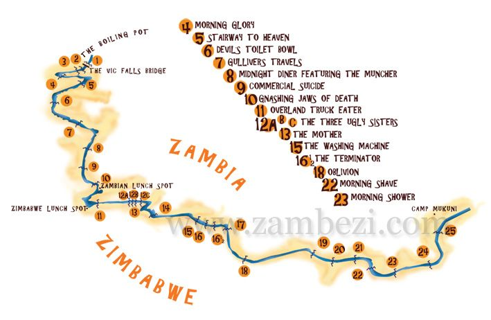 Zambezi River On Map Of Africa.Rafting Rapids Batoka Gorge Zambezi River Zimbabwe Rafting