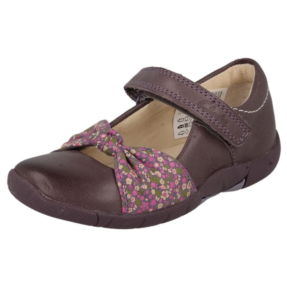 GIRLS CLARKS HEATHER LEATHER SHOES STYLE - BINNIE NIA INF