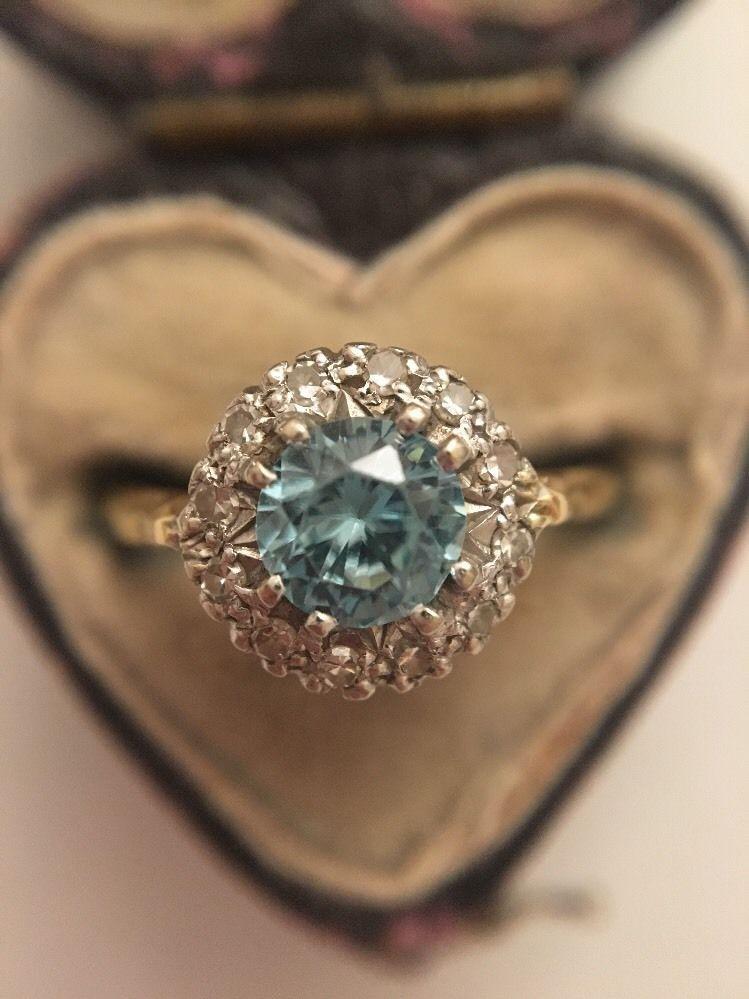 Antique 18ct yellow gold platinum zircon diamond cluster
