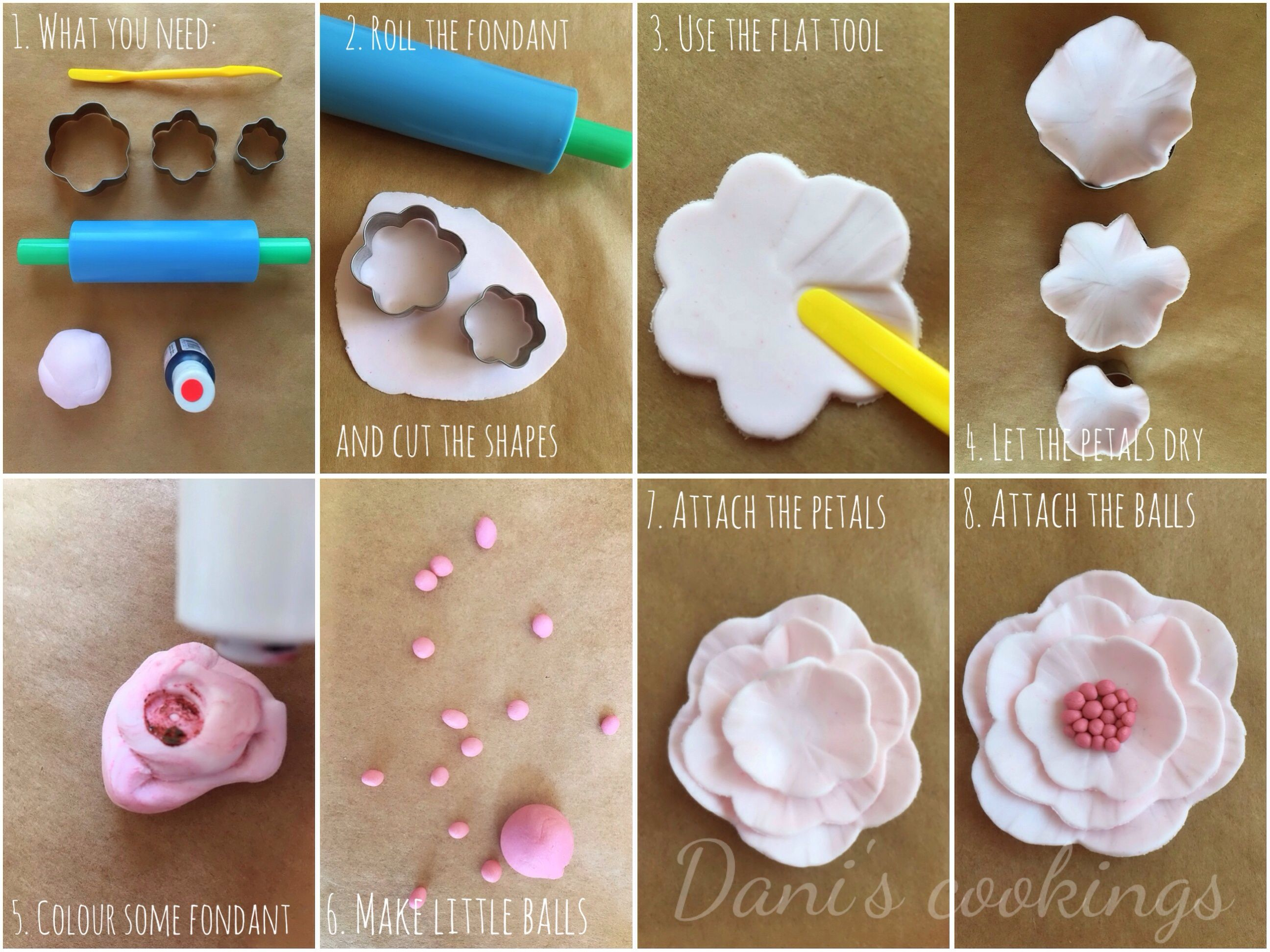How To Make Easy Fondant Flowers Tutorial With Images