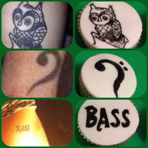 Tattoo cakes next to the tattoos.