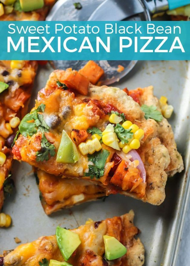 Sweet Potato Black Bean Mexican Pizza is loaded with veggies. Uses salsa for the sauce and is so easy and tastes amazing!