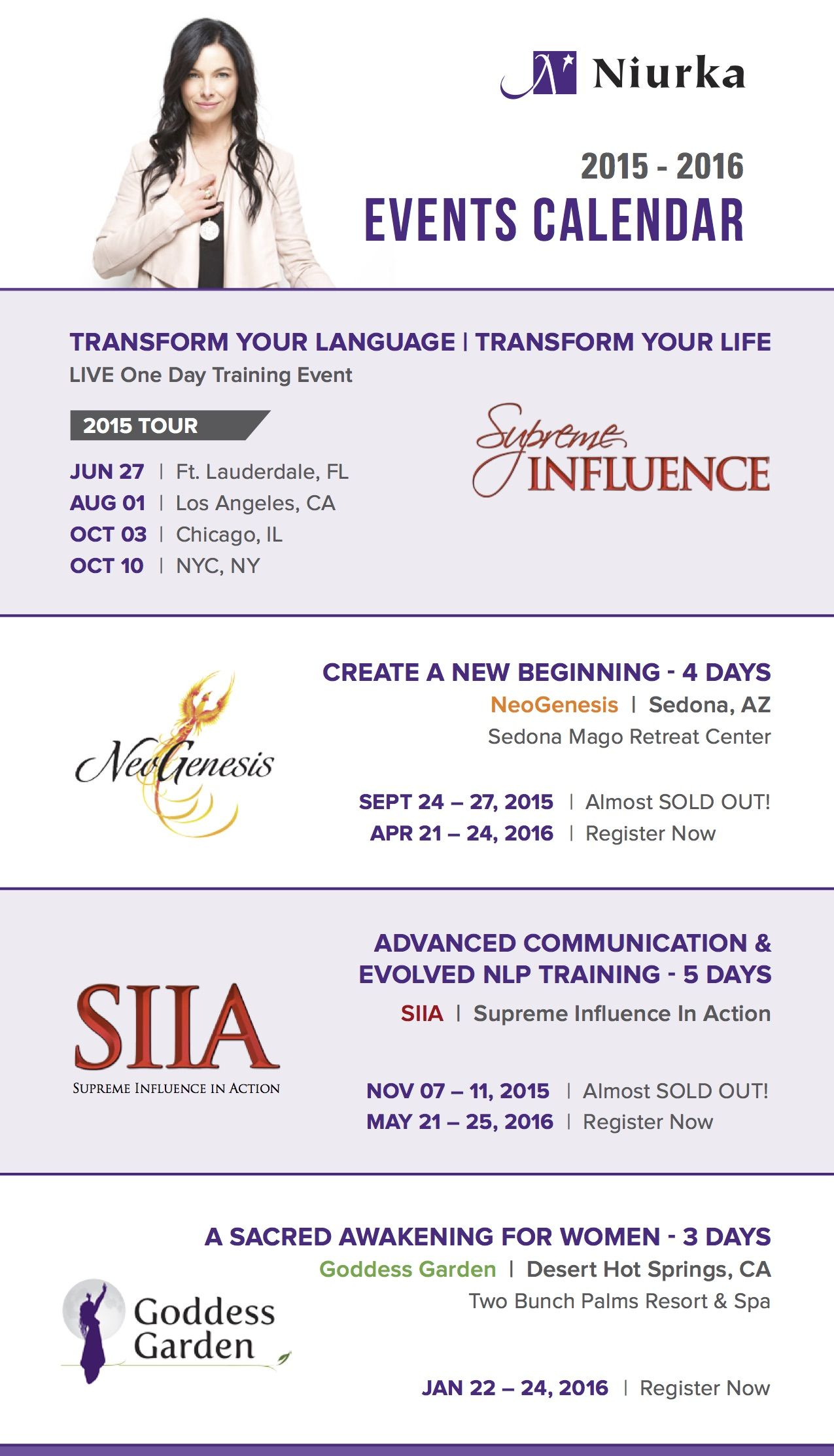 Siia Supreme Influence In Action Advanced Communication Evolved Nlp Training 5 Day Course With Niurka Communication Skills Event Calendar Nlp