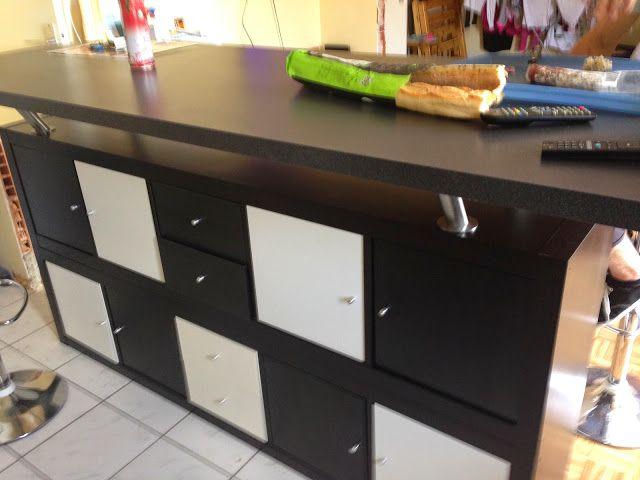 Table De Bar Avec KALLAX Separation Cuisine Salon Séparation Et - Table haute cuisine avec rangement pour idees de deco de cuisine