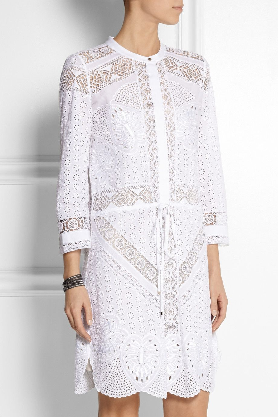 Roberto Cavalli - Broderie anglaise cotton mini dress